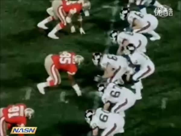 NYGiants, nfl, Mark Bavaro goes full-on beast mode, carries half the 49ers defense fifteen yards in Week 13 of the 1986 season (reddit) GIFs