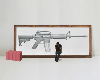 'erase' an AR-15 rifle: a response to gun violence by greg bokor GIFs