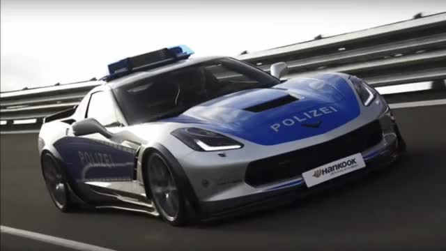 Watch and share Polizei-spec Chevy Corvette Lights Up The Essen Motor Show GIFs on Gfycat