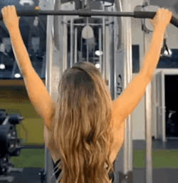 Anllela Sagra, back workout : Wide Grip Lat Pulldown. GIFs