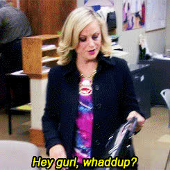 amy poehler, hey, hey girl, sup, wassup, what's up, whats up, hey girl leslie GIFs