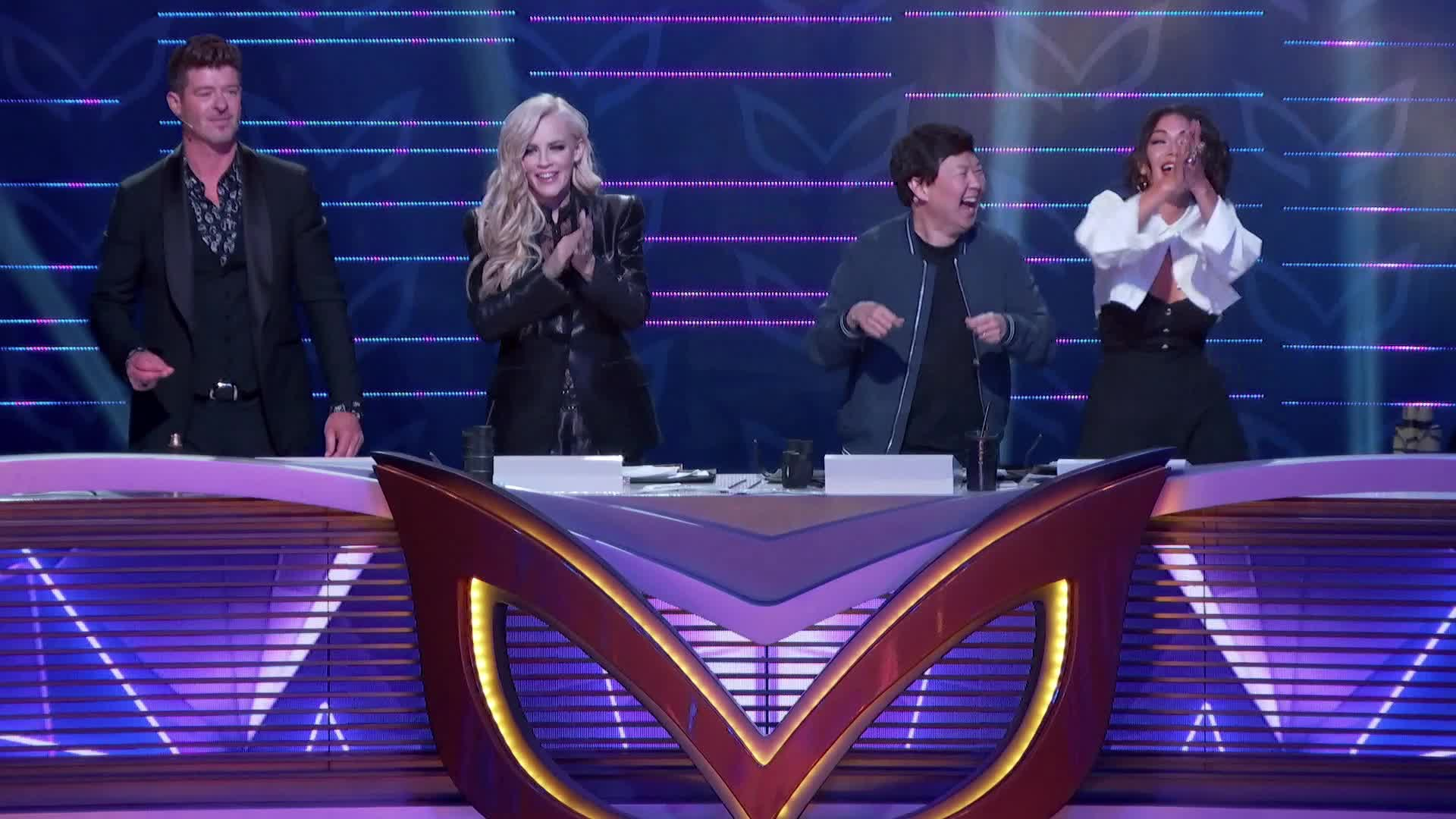 applause, celebrate, clapping, dance, dancing, excited, happy, jenny mccarthy, ken jeong, laughing, masked singer, nicole scherzinger, robin thicke, slow clap, the masked singer, the masked singer on fox, yay, Panelists Laughing GIFs