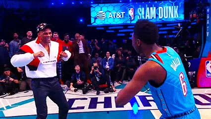 Watch and share Russell Westbrook And Hamidou Diallo — 2019 Slam Dunk Contest GIFs by Off-Hand on Gfycat