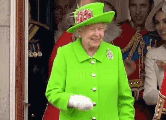 crown, elizabeth, england, fashion, good, good morning, green, happy, hello, hey, hi, hola, icon, morning, queen, smile, there, uk, you, Queen Elizabeth - Hello, Goodbye GIFs