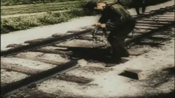 traingifs, German soldiers blow train tracks in Anzio (reddit) GIFs