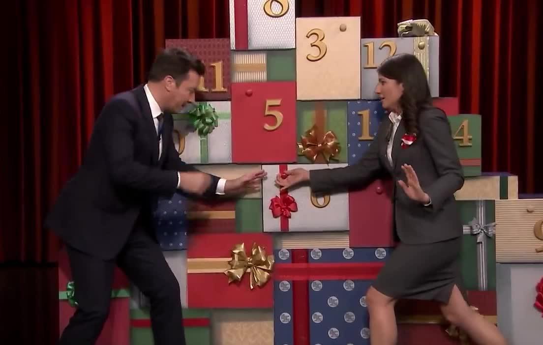 12, christmas, damon, days, face, fallon, funny, gift, hide, jimmy, lol, matt, open, present, show, surprise, sweaters, tada, tonight, xmas, 12 Days of Christmas Sweaters 2018: Day 7 GIFs