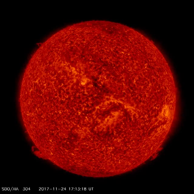 Watch Solar filament eruption - November 25, 2017 - AIA 304 GIF by The Watchers (@thewatchers) on Gfycat. Discover more related GIFs on Gfycat