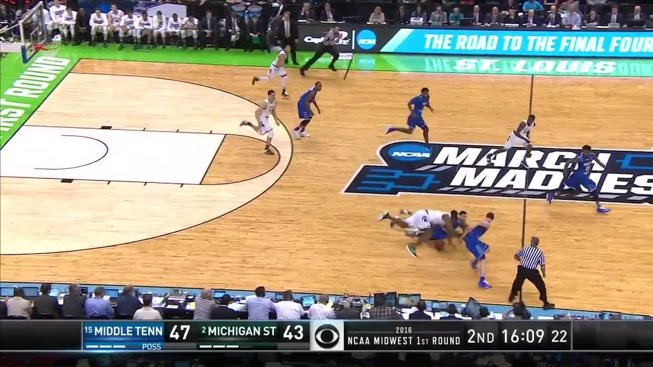 2016 ncaa men's division i basketball tournament (sports league championship event), march madness, sp:ti:home=msu, Middle Tennessee State vs. Michigan State: Game highlights GIFs