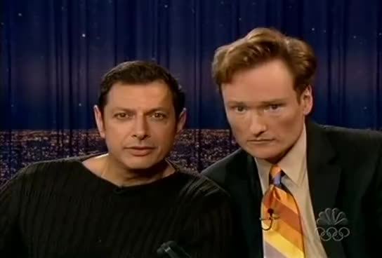 celebrities, celebrity, celebs, jeff goldblum, Conan O'Brien 'Jeff Goldblum 6/22/04 GIFs