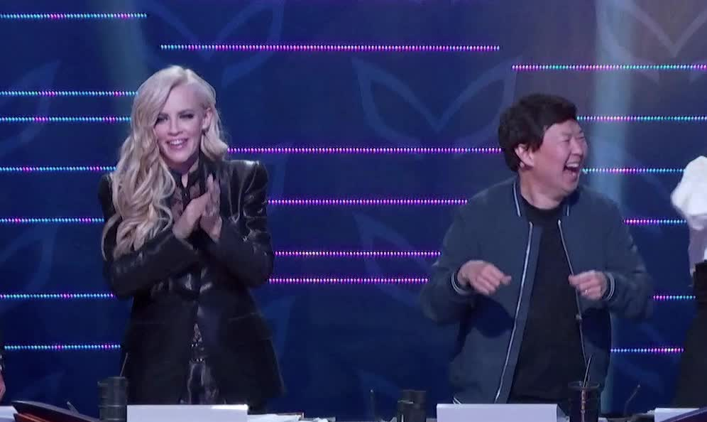 applause, celebrate, clapping, dance, dancing, excited, happy, jenny mccarthy, ken jeong, masked singer, slow clap, the masked singer, the masked singer on fox, yay, Jenny McCarthy and Ken Jeong Laughing GIFs