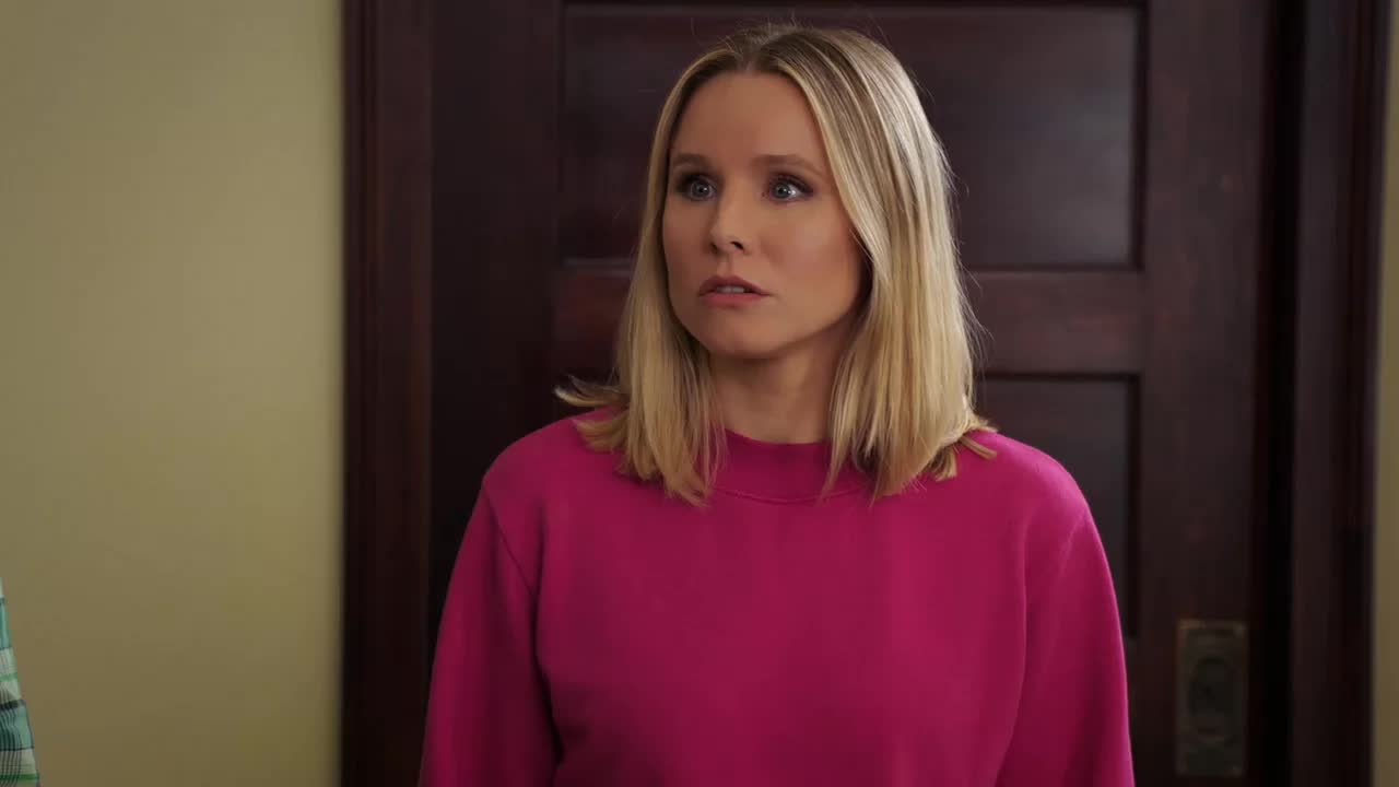 kristen bell, s03e09 janet(s), the good place, fork shirt ash hole GIFs
