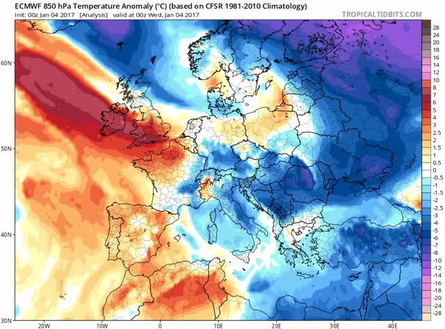 ECMWF 850 hPa - temperature anomaly January 2017