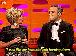 Watch and share Graham Norton Show GIFs and Robbie Williams GIFs on Gfycat