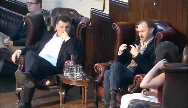 Watch and share Mark Gatiss & Steven Moffat | Cambridge Union GIFs on Gfycat