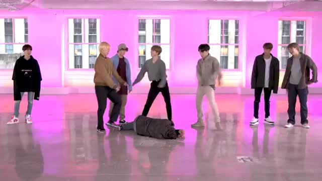 BTS and Jimmy Fallon Do the Fortnite Dance Challenge GIF