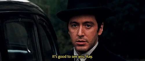 Watch this al pacino GIF on Gfycat. Discover more 1972, actor, actress, al pacino, celebrity, celebs, cinema, classic movies, crime, diane keaton, dianekeaton, director, drama, film, francis ford coppola, gif, godfather, hollywood, hollywood couples, icon, iconic, icons, kay corleone, legend, mafia, michael corleone, movie, movie gif, my gifs, the godfather GIFs on Gfycat