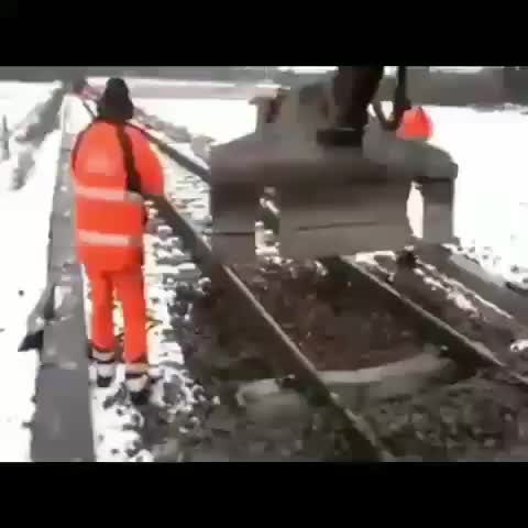 railroad, construction, oddly satisfying, Replacing a railroad tie. GIFs