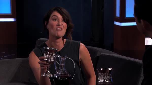 lena headey, Lena Headey and Jimmy Kimmel Talk Game of Thrones Style (reddit) GIFs