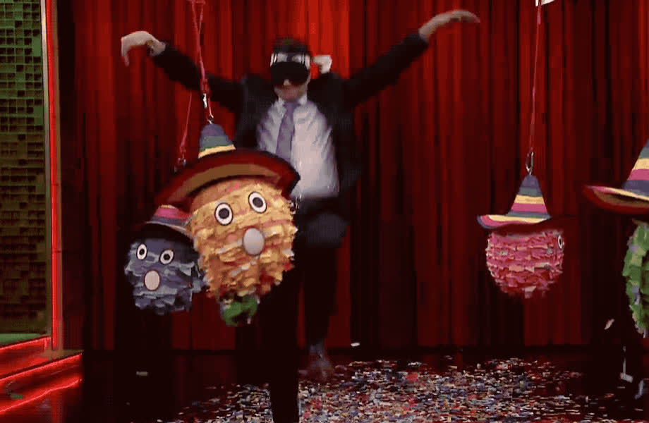birthday, blind, confetti, fallon, funny, haha, happy, hilarious, jimmy, karate, kid, lol, macchio, made, party, pinata, ralph, show, tada, tonight, Karate pinata party GIFs