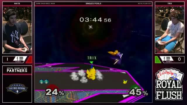 Royal Flush SSBM - Mayb (Peach) Vs. Trix (Pikachu) Smash Melee Tournament