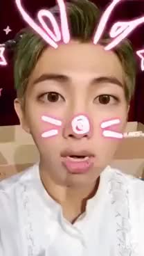 Watch and share Rap Monster SNOW Bunny Filter~ GIFs on Gfycat