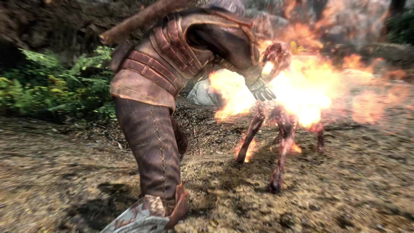 Skyrim, Witcher 3, gaming, Geralt of Rivia doing a Hadouken in Skyrim GIFs