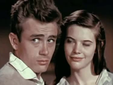 Watch this trending GIF on Gfycat. Discover more 1950s, 1955, color, east of eden, james dean, lois smith, my gifs, old hollywood, screen test, vintage GIFs on Gfycat