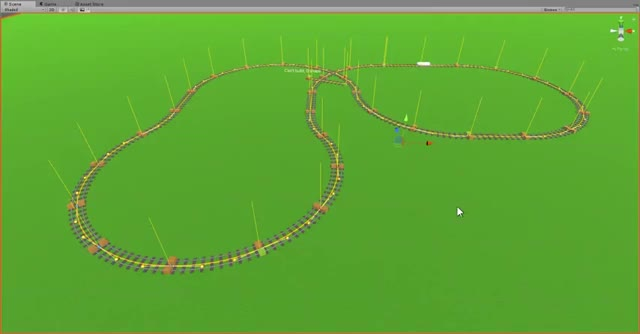 A looping model train track in Unity using bezier curves for