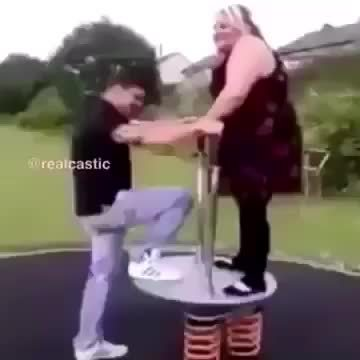 Funny, Springboard, holdmyfries, Fat girl launches boyfriend into the sky vine GIFs