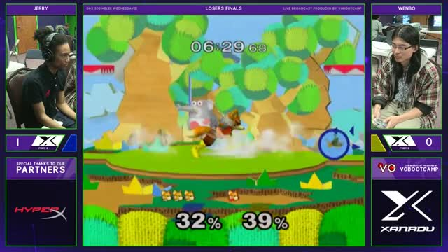 S@X 203 - Wenbo (Fox) Vs. Jerry (Fox) - Smash Melee Losers Finals - SSBM
