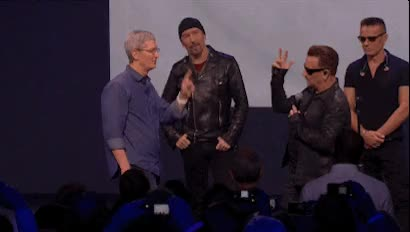 The Bono Cook finger touch from the iPhone 6 and Apple Watch announcement : cringepics GIFs