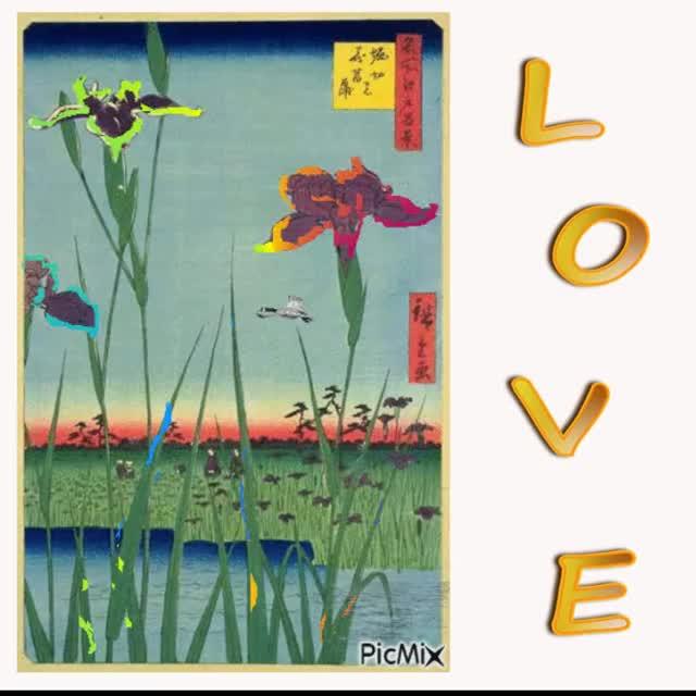 Watch and share Irises In Horikiri GIFs and Japanese Art GIFs by Ice Cream Goya 55009 on Gfycat