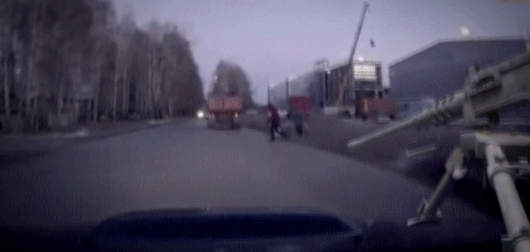 michaelbaygifs, Russian dashcam footage: car almost hits pedestrian (reddit) GIFs