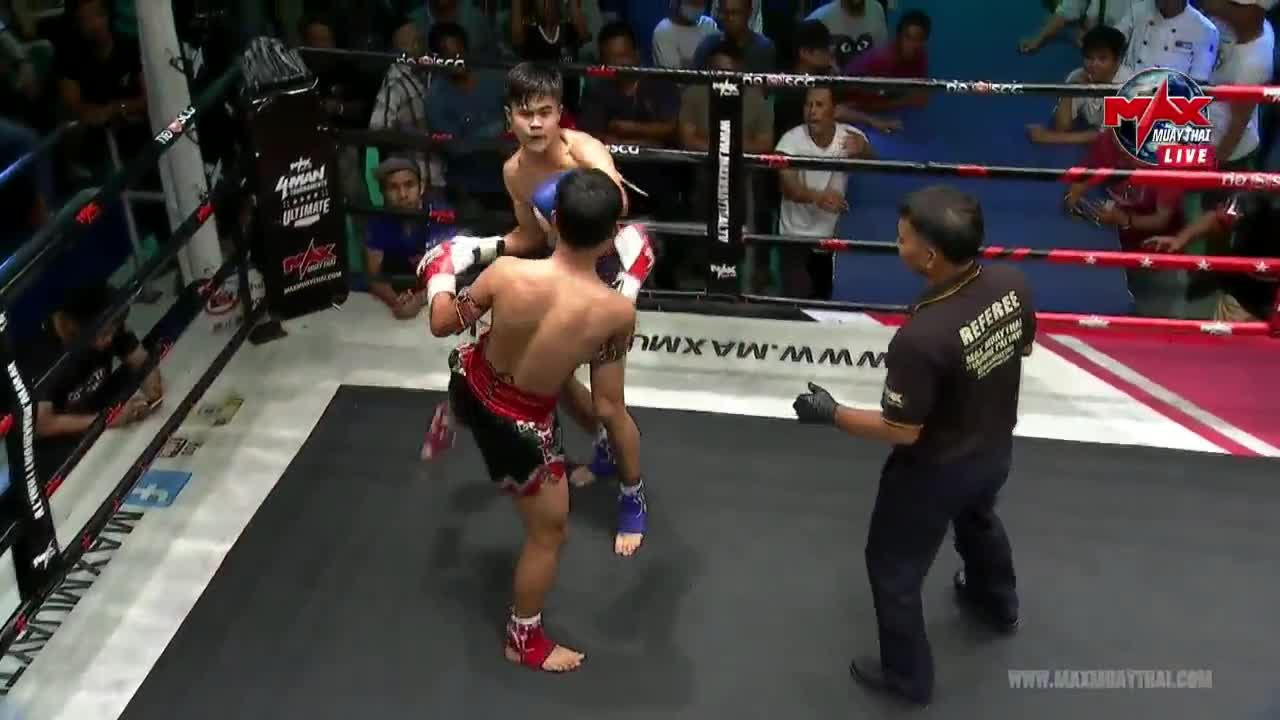 bodyblow, fighting, fights, knee, knockout, ko, mma, muaythai, muaythaifighter, ufc, Singsuriya destroys Petchnamnueng with a vicious knee to the body GIFs