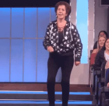 Watch this funny GIF by ioanna on Gfycat. Discover more applause, best, celebrate, dance, dancing, ellen, epic, excited, feet, funny, hilarious, lady, laugh, leg, lol, moves, old, party, skills, the GIFs on Gfycat