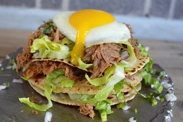 Watch and share Pulled Pork Tostadas With A Runny Egg GIFs on Gfycat