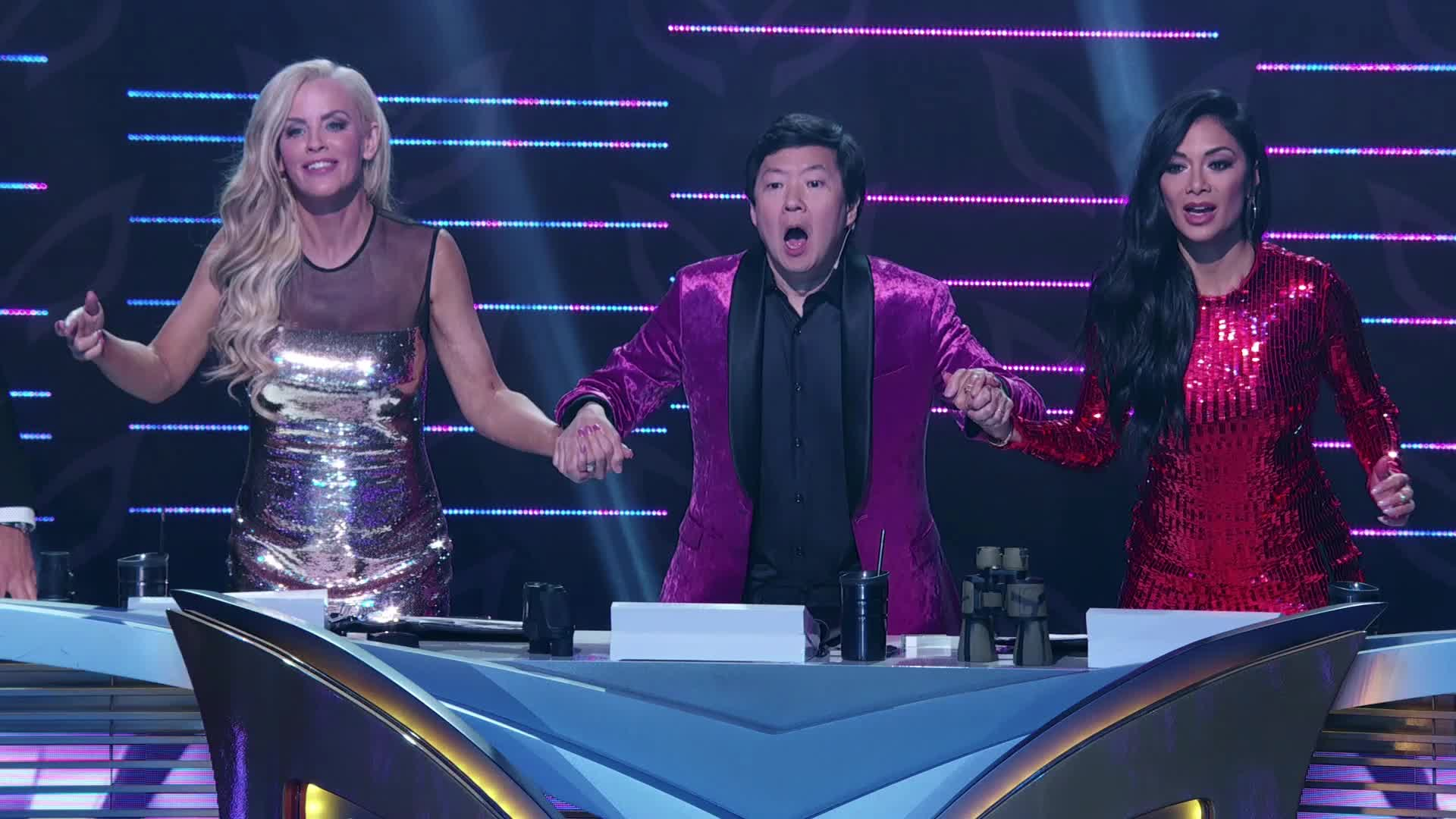 ahhh, crazy, excited, jenny mccarthy, ken jeong, masked singer, mind blown, nicole scherzinger, omg, shocked, surprise, the masked singer, the masked singer on fox, wow, Jenny, Ken, and Nicole Screaming GIFs