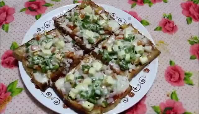 Watch and share YUMMY Bread Pizza | Bread Pizza At Home | Quick And Easy Bread Pizza Recipe GIFs on Gfycat