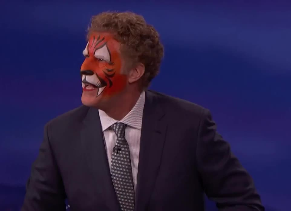 GIF Brewery, will-ferrell-just-came-from-a-kid-s-birthday-party---conan-o, Will Ferrell tiger GIFs