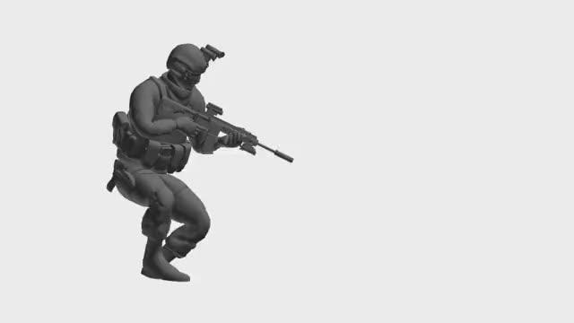Game Animation - Locomotion Rifle Crouch Walk Foward Loop