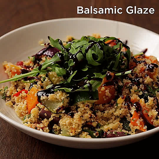 GifRecipes, vegangifrecipes, Couscous and Roasted Vegetable Salad GIFs