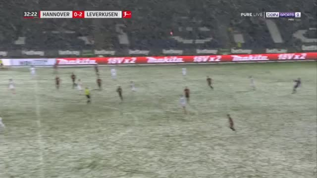 Watch and share Genki Haraguchi (Hannover) Shot Into An Open Net Stopped By The Snow Against Leverkusen 33' GIFs on Gfycat