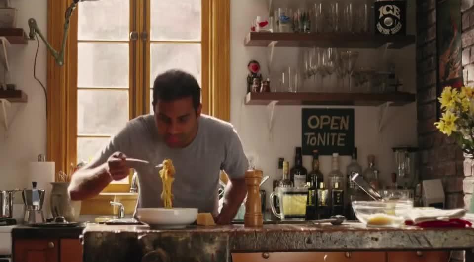 aziz ansari, happy dance, master of none, pasta, spaghetti, Aziz Ansari Pasta Victory Dance GIFs