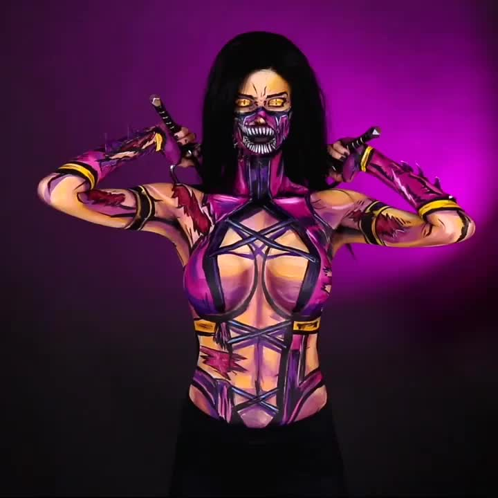art, artist, bodyart, bodypaint, bodypainting, comic, comicbookmakeup, comics, cospaint, facepaint, facepainting, makeup, makeupartist, millena, mortalkombat, mortalkombat9, mortalkombatcosplay, mortalkombatx, mua, yyc, Mileena Bodypaint I painted on 🎨 https://www.twitch.tv/kaypikefashion 🎨 on July 19th I am painting Again today if you would like to stop i GIFs