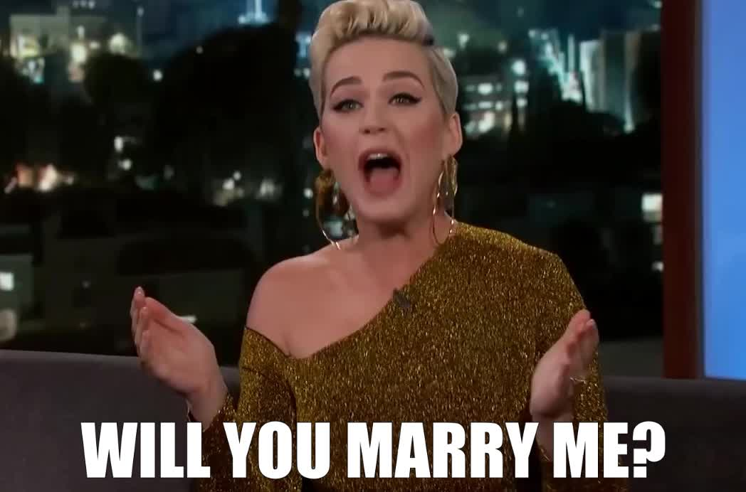 bloom, engaged, engagement, jimmy, katy, kimmel, lol, loud, marry, me, orlando, out, perry, proposal, propose, scream, shout, will, yell, you, Katy Perry on Orlando Bloom Engagement GIFs
