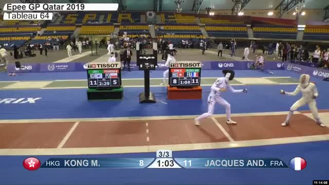 Watch KONG M 8 GIF by Scott Dubinsky (@fencingdatabase) on Gfycat. Discover more gender:, leftname: KONG M, leftscore: 8, rightname: IACQUES AND, rightscore: 12, time: 00010124, touch: right, tournament: doha2019, weapon: epee GIFs on Gfycat
