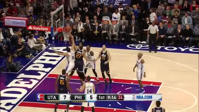 Watch and share Joel Embiid Blocks Derrick Favors Dunk Attempt   Jazz Vs Sixers   Nov 7, 2016   2016 17 NBA Season GIFs on Gfycat