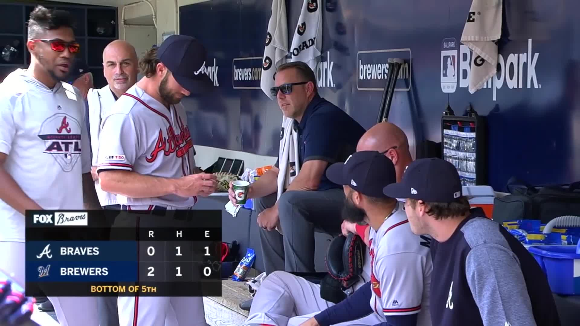 atlanta, baseball, braves, Charlie Culberson about to put a dip in, gets caught by camera. GIFs
