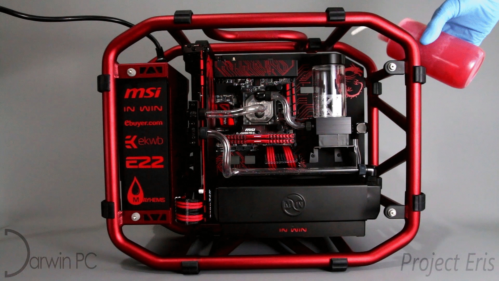 custompc, gamingpc, watercooling, Project Eris by Darwin PC - filling watercooling loop with Mayhems Aurora red GIFs