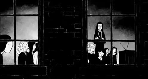 Watch Persepolis (2007) GIF on Gfycat. Discover more Black and White, Dark, Indifferent, Laughing, Marjane Satrapi, Persepolis, mygif GIFs on Gfycat